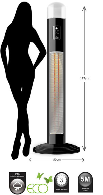 Elegant Titan Infrared Free Standing Electric Patio Heater With 360° Light 3kW  240V~50hZ